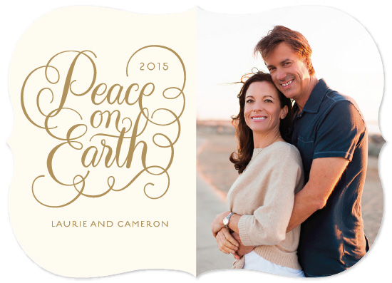 holiday photo cards - Flourished Peace on Earth by Laura Bolter Design