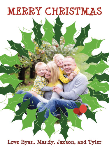 holiday photo cards - Holly Wreath by Sarah R. Petersen