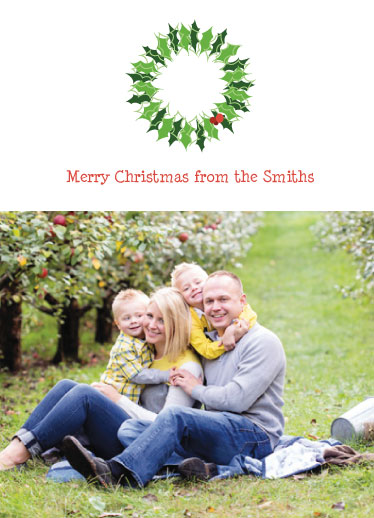 holiday photo cards - Holly Wreath on Top by Sarah R. Petersen