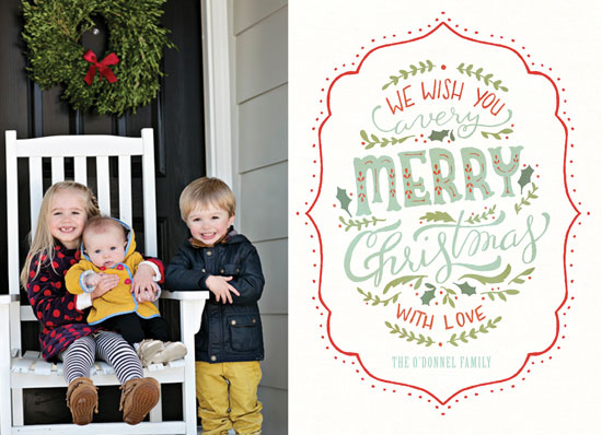 holiday photo cards - hand-lettered Merry Christmas card by Cassidy Demkov