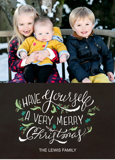 holiday photo cards - Hand-lettered Very Merry Christmas in black by Cassidy Demkov