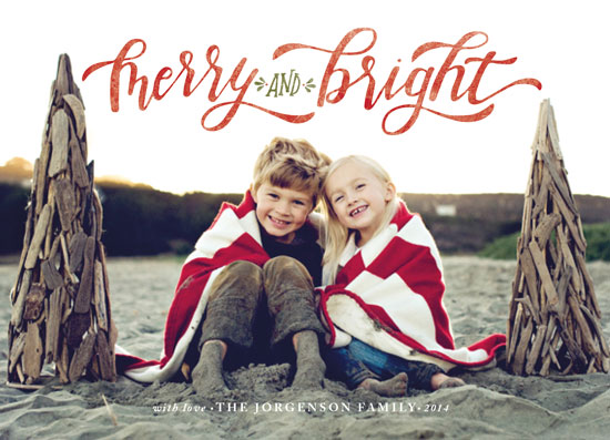 holiday photo cards - Merry & Bright Hand Lettered by Wildfield Paper Co.