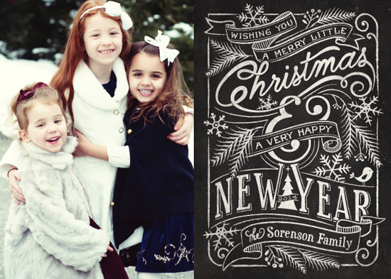 holiday photo cards - Merry Little Chalkboard by GeekInk Design