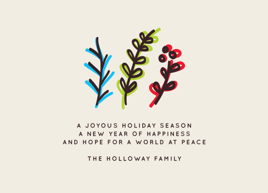 non-photo holiday cards - joyous, happiness, peace by aticnomar