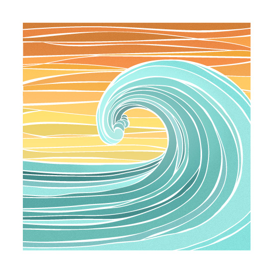 art prints - Sunset Wave by La Rue Pulido
