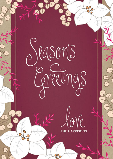 non-photo holiday cards - kraft floral by An-Lon Chen