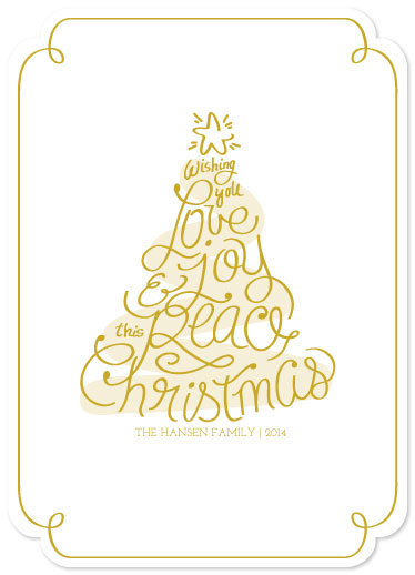 non-photo holiday cards - Love Joy Peace Tree by La Rue Pulido