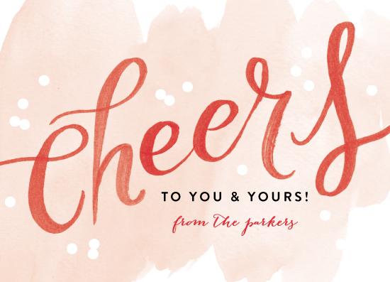non-photo holiday cards - Watercolor Cheers by Alethea and Ruth