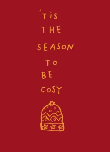 non-photo holiday cards - Tis The Season To Be Cosy by Clare Forrest
