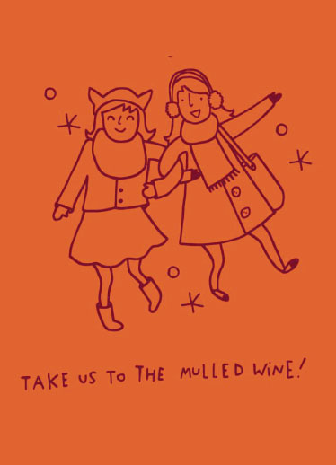 non-photo holiday cards - Take Us To The Mulled Wine by Clare Forrest