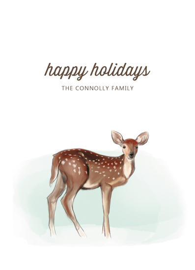 non-photo holiday cards - peaceful deer by Erin Niehenke