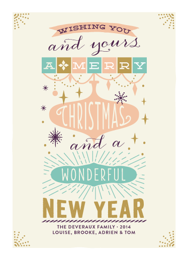 non-photo holiday cards - you and yours by Bonjour Paper