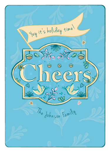 non-photo holiday cards - frame the cheers by Tali Levanon