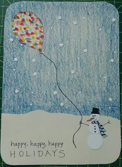 non-photo holiday cards - snowman and his balloon by Angel Hollingsworth