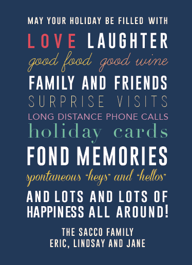 non-photo holiday cards - May Your Holiday Be Filled With...Everything! by Rosewater Designs