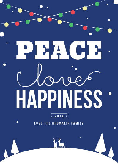 non-photo holiday cards - Peace, Love and Happiness by Jelly Design