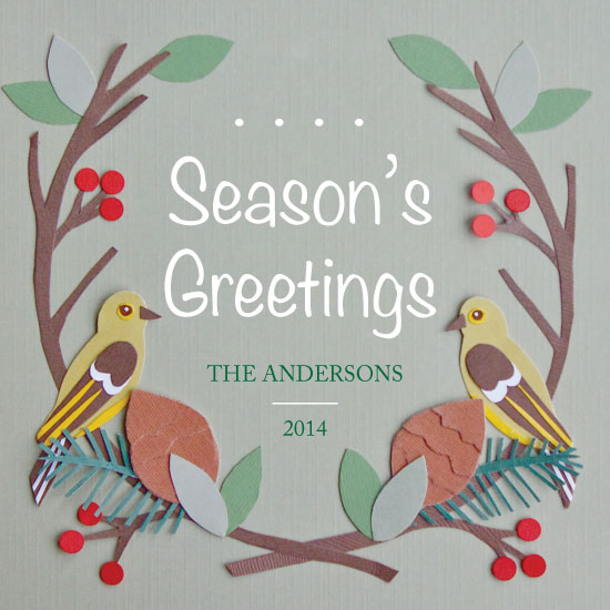 non-photo holiday cards - Wildberry Birds by Rachel Osborne