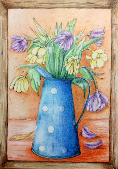 art prints - Spring bouquet in blue,white spotted  vase by Marta