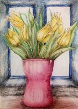 Yellow tulips in pink v... by Marta