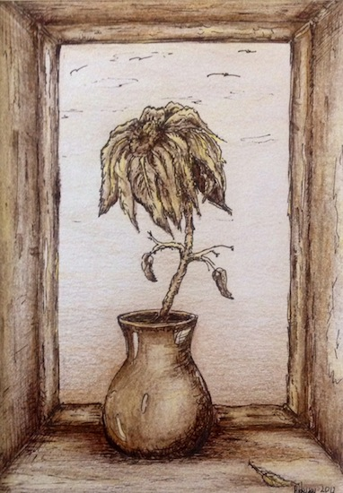 art prints - Flower in vase in sepia by Marta