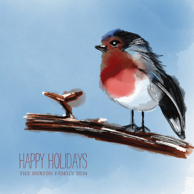 non-photo holiday cards - Rockin Robin Christmas by Adele Hughes