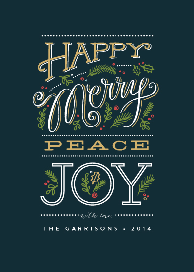 non-photo holiday cards - Happy Merry peace joy by Jennifer Wick