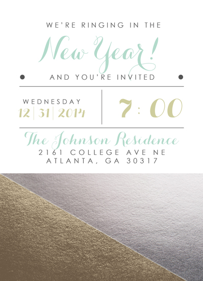 party invitations - Gold, Mint and Silver Geometric New Years Party by Yellow Door Creative