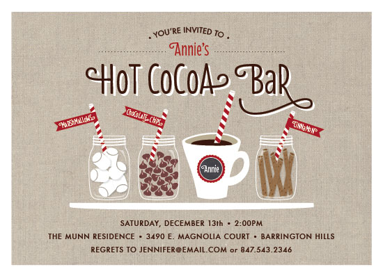 party invitations - Hot Cocoa Bar by Beth Schneider