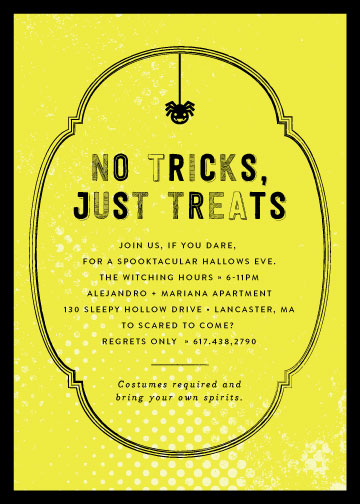 party invitations - No Tricks, Just Treats by 24th and Dune