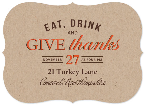 party invitations - Eat, Drink and Give Thanks by Heather Bastos