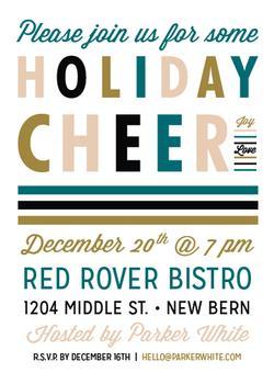 Typographic Cheer Holiday Invitation