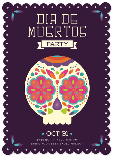 party invitations - Dia de muertos Party by Ele Papers