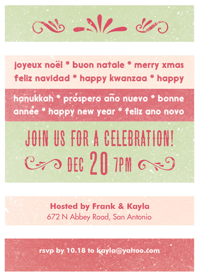 party invitations - multi holidays by pandercraft