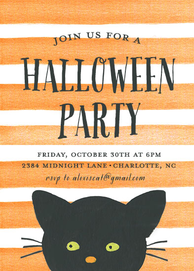 party invitations - Striped Cat by August and Oak
