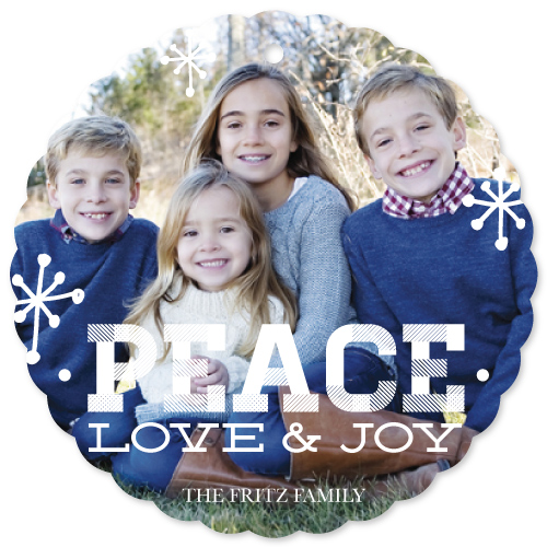 holiday photo cards - Peace Love & Joy Scalloped by Katrina Robert