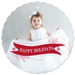 christmas floral banner ornament card