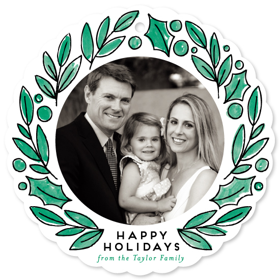 holiday photo cards - Hand drawn Wreath by Alethea and Ruth