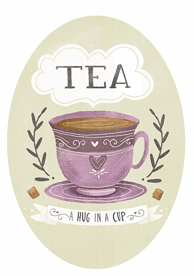 art prints - Tea is a hug in a cup by Lindsay Dale