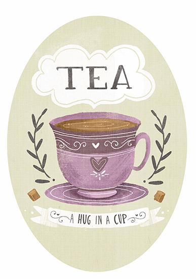 art prints - Tea is a hug in a cup by Lindsay Dale