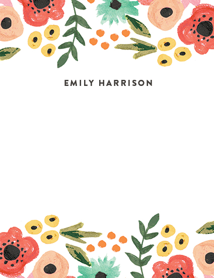 personal stationery - Watercolor Flowers by August and Oak