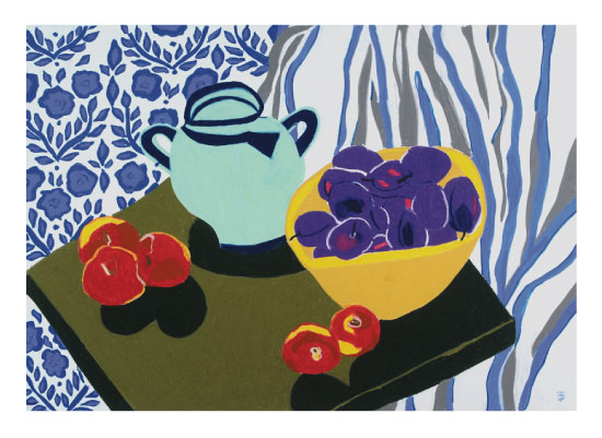 art prints - Kingston Still Life with Fruit and Patterns by Theresa Drapkin