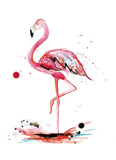 Art Prints  Pink Flamingo By Kelsey McNatt