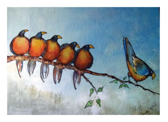 art prints - Birds on a Limb by YakiArtist