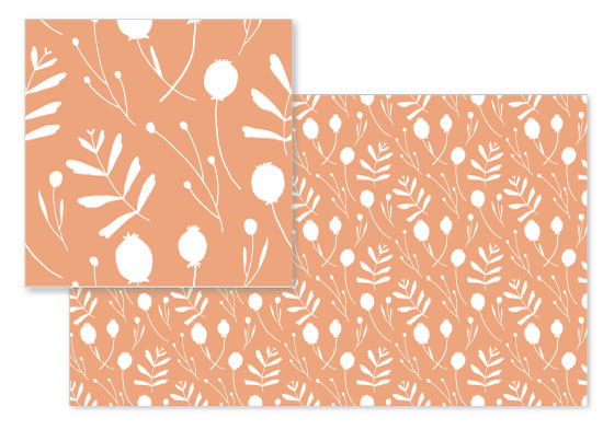 fabric - Peach Floral by Erin Wallace