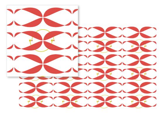 fabric - Sideways tulips by Laura Malkasian Huggins