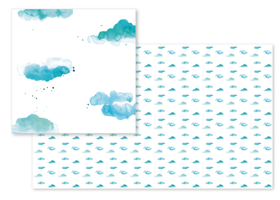 fabric - Watercolor Clouds by Lindsay Megahed