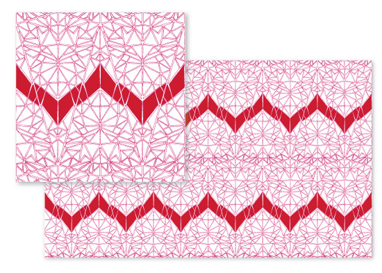 fabric - Geometric Heartbeat by Chelsea Cates