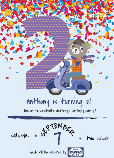 cards - 2nd Birthday Party Invitation including a Teddy Bear riding a Cranberry Vespa while wearing a Mohawk. by Jason Shurb
