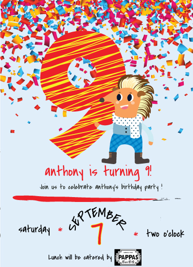 cards - 9th Birthday Party Invitation with a Horse with a Multicolor Mane by Jason Shurb
