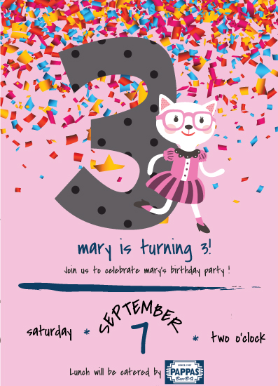 cards - 3rd Birthday Party Invitation with a Cat Red Glasses and dressed in vintage school teacher attire by Jason Shurb